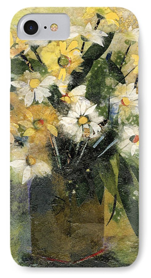 Limited Edition Prints IPhone 7 Case featuring the painting Flowers In White And Yellow by Nira Schwartz