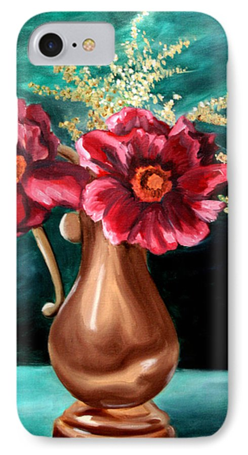 Flower IPhone 7 Case featuring the painting Flowers by Maryn Crawford