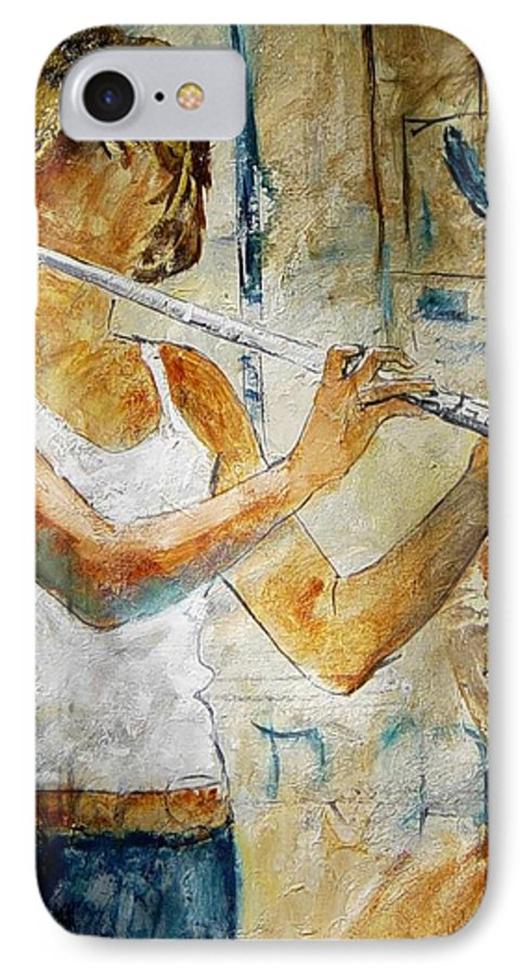 Music IPhone 7 Case featuring the painting Flutist by Pol Ledent