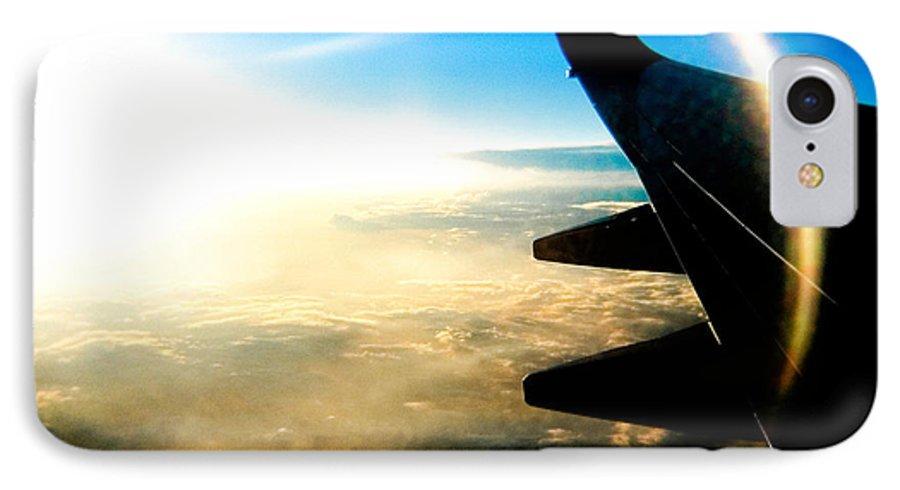 Plane Sky Sun Holga Color Photograph IPhone 7 Case featuring the photograph Fly Like A Dolphin by Olivier De Rycke