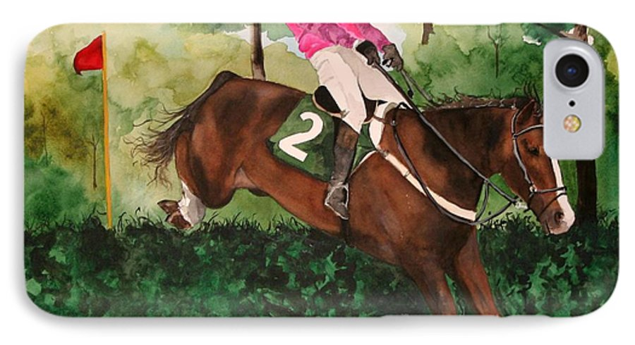 Horse IPhone 7 Case featuring the painting Flying High by Jean Blackmer