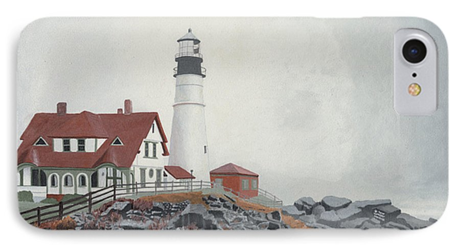 Lighthouse IPhone 7 Case featuring the painting Fog Approaching Portland Head Light by Dominic White