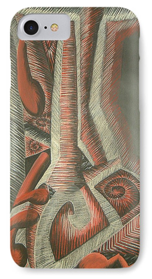 Abstract IPhone 7 Case featuring the drawing Foot by Donald Burroughs