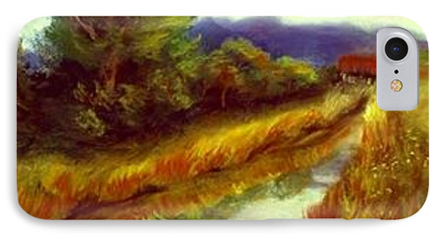 Landscape IPhone 7 Case featuring the painting For A Thirsty Land by Gail Kirtz