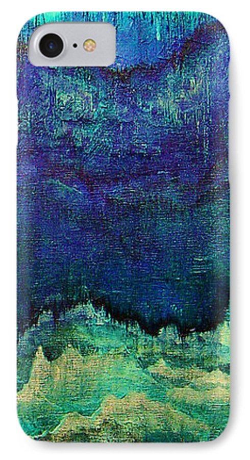 Blue IPhone 7 Case featuring the painting For Linda by Shadia Derbyshire
