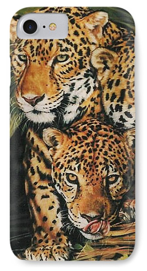 Jaguar IPhone 7 Case featuring the pastel Forest Jewels by Barbara Keith