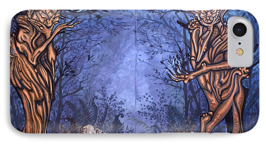 Mystic IPhone 7 Case featuring the painting Forest by Judy Henninger