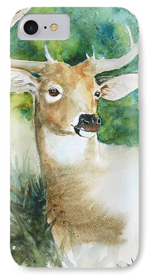 Deer IPhone 7 Case featuring the painting Forest Spirit by Christie Michelsen