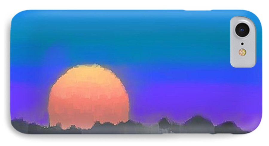 Evenung.sunset.sky.sun.background Forest.silence.rest IPhone 7 Case featuring the digital art Forest Sunset. by Dr Loifer Vladimir