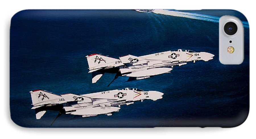 Military IPhone 7 Case featuring the painting Forrestal S Phantoms by Marc Stewart