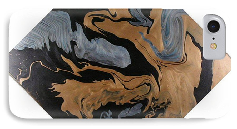 Abstract IPhone 7 Case featuring the painting Fossil by Patrick Mock
