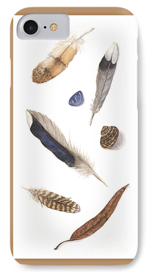 Feathers IPhone 7 Case featuring the painting Found Treasures by Lucy Arnold