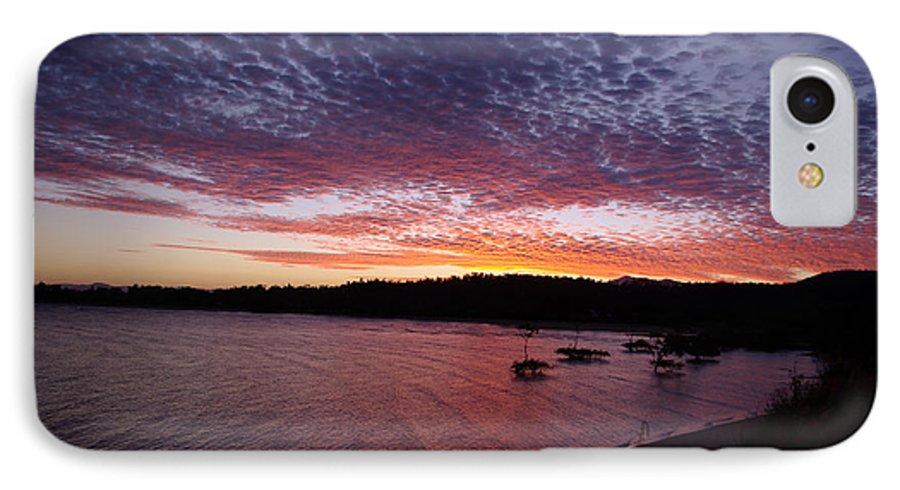 Landscape IPhone 7 Case featuring the photograph Four Elements Sunset Sequence 1 Coconuts Qld by Kerryn Madsen - Pietsch