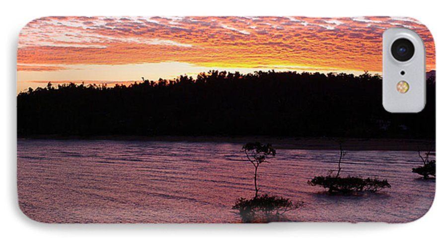 Landscape IPhone 7 Case featuring the photograph Four Elements Sunset Sequence 5 Coconuts Qld by Kerryn Madsen - Pietsch