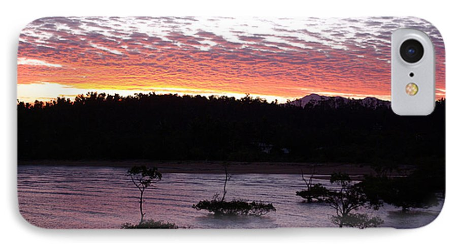 Landscape IPhone 7 Case featuring the photograph Four Elements Sunset Sequence 8 Coconuts Qld by Kerryn Madsen - Pietsch