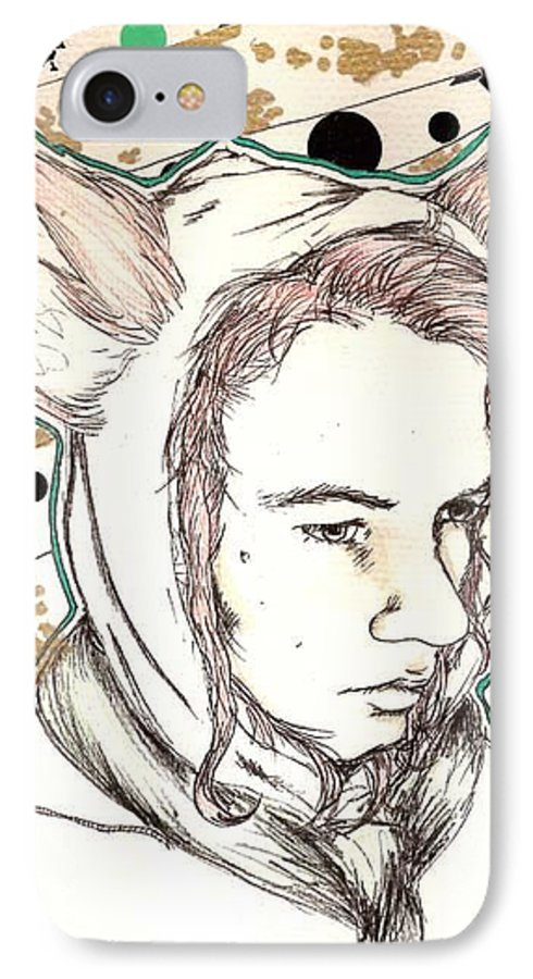Ears Fow Star Boy Portrait Red IPhone 7 Case featuring the drawing Fox by Freja Friborg