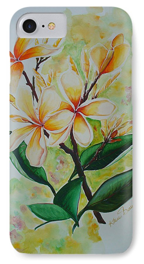 IPhone 7 Case featuring the painting Frangipangi by Karin Dawn Kelshall- Best