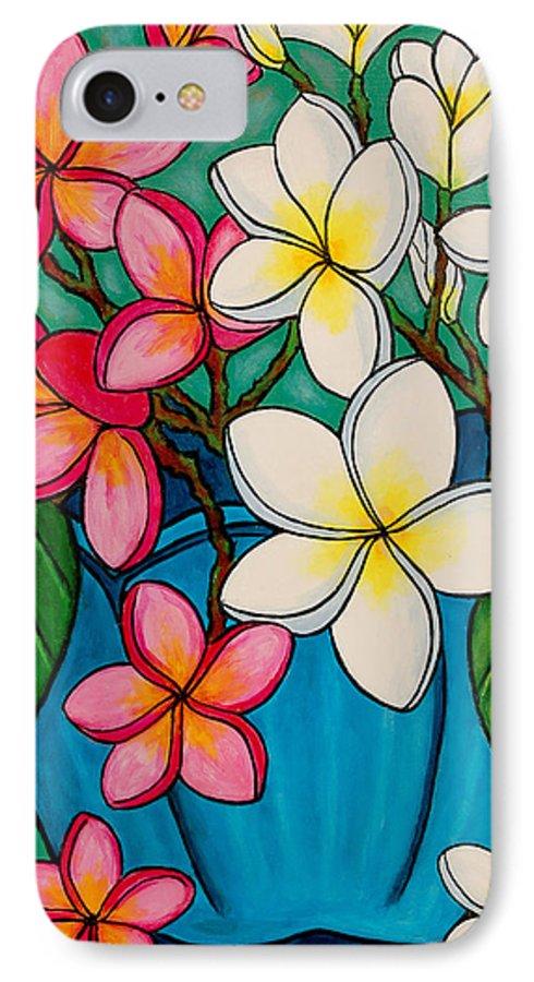 Frangipani IPhone 7 Case featuring the painting Frangipani Sawadee by Lisa Lorenz