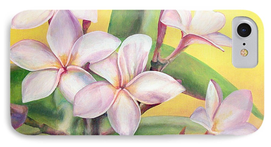 Floral Painting IPhone 7 Case featuring the painting Frangipanier by Muriel Dolemieux
