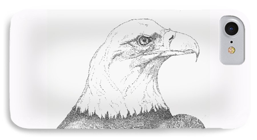Eagle IPhone 7 Case featuring the drawing Freedom by Debra Sandstrom