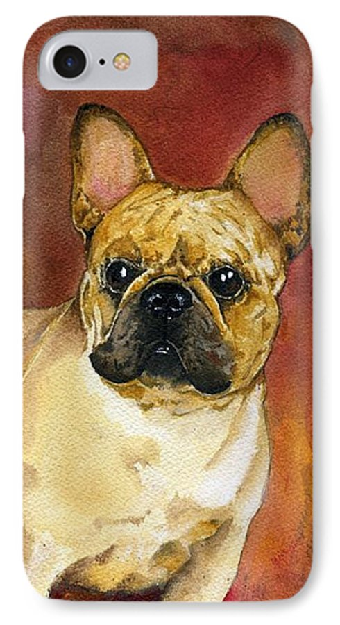 French Bulldog IPhone 7 Case featuring the painting French Bulldog by Kathleen Sepulveda