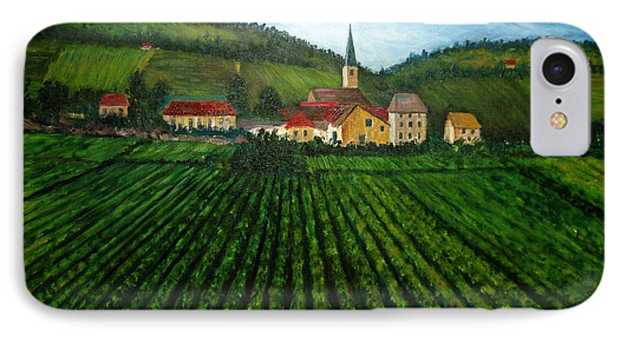 Acrylic IPhone 7 Case featuring the painting French Village In The Vineyards by Nancy Mueller