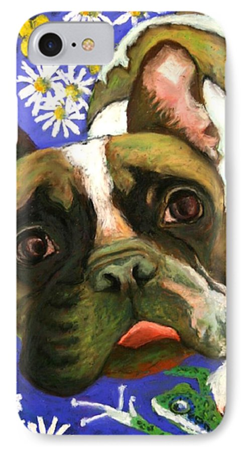 Pet Portrait IPhone 7 Case featuring the painting Frenchie Plays With Frogs by Minaz Jantz