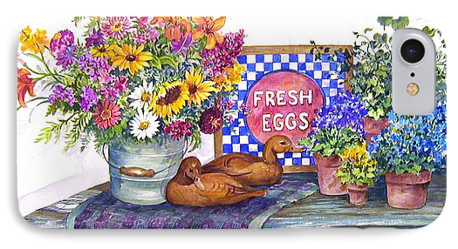 Watercolor;ducks;decoys;floral;mixed Bouquet;potted Plants;checkerboard;quilt; IPhone 7 Case featuring the painting Fresh Eggs by Lois Mountz