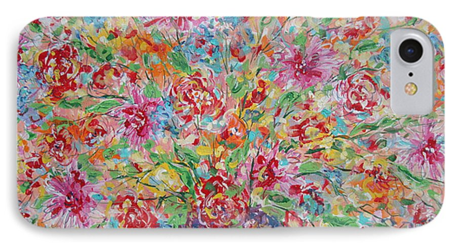 Painting IPhone 7 Case featuring the painting Fresh Flowers. by Leonard Holland