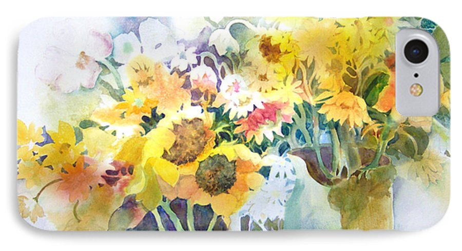 Contemporary;watercolor;sunflowers;daisies;floral; IPhone 7 Case featuring the painting Fresh-picked by Lois Mountz