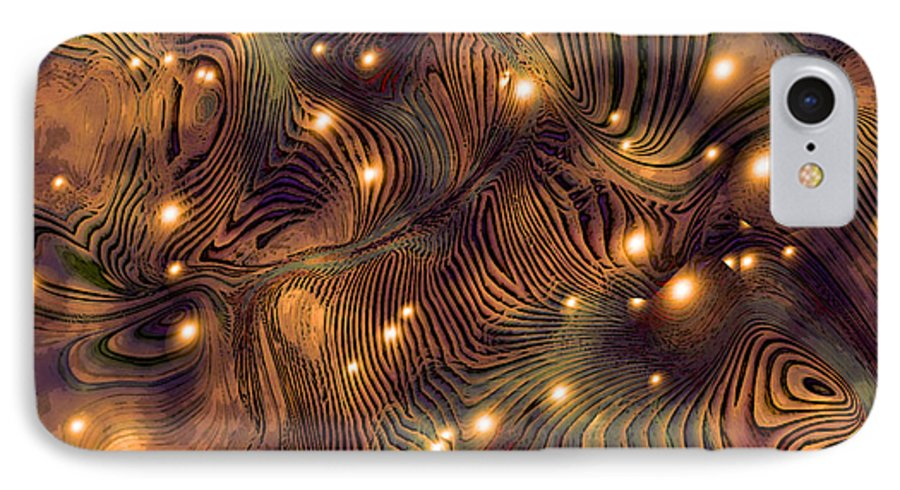 Abstract Digital Art Painting Brown Gold Freshwater Fish Lights Texture IPhone 7 Case featuring the painting Freshwater by Susan Epps Oliver