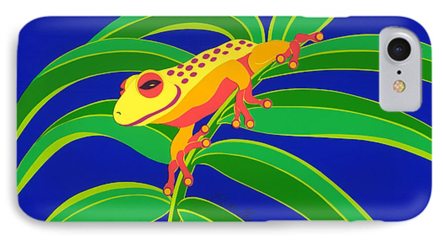 Nature IPhone 7 Case featuring the drawing Frog On Branch by Lucyna A M Green