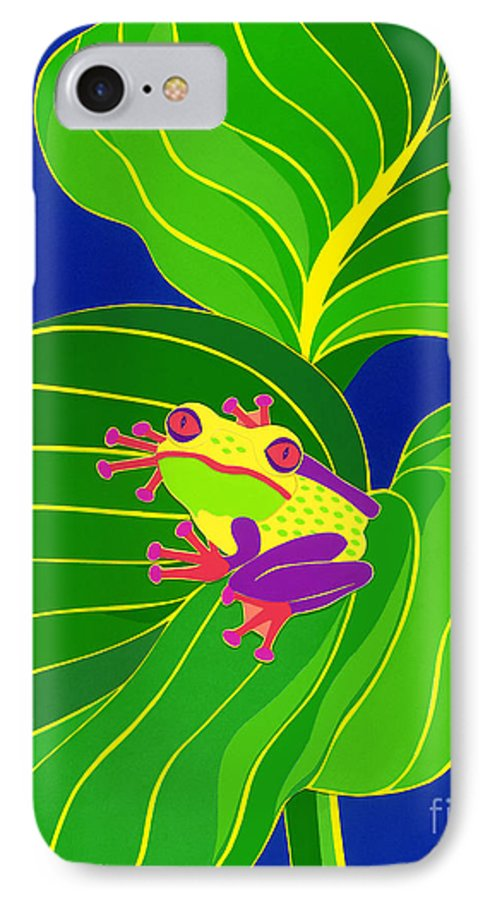 Nature IPhone 7 Case featuring the drawing Frog On Leaf by Lucyna A M Green