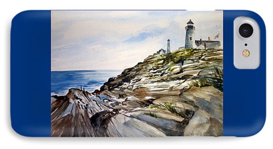 Pemaquid Light House;rocks;ocean;maine;pemaquid;light;lighthouse; IPhone 7 Case featuring the painting From The Rocks Below by Lois Mountz