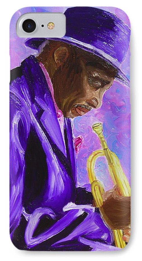Street Musician Trumpet Player IPhone 7 Case featuring the painting From The Soul by Michael Lee