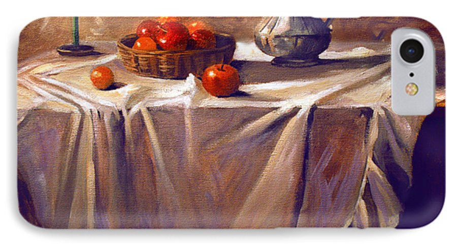Still Life IPhone 7 Case featuring the painting Fruit By Candle Light by Nancy Griswold