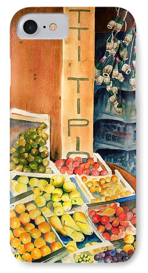 Fruit Shop Window IPhone 7 Case featuring the painting Fruit Shop In San Gimignano by Judy Swerlick