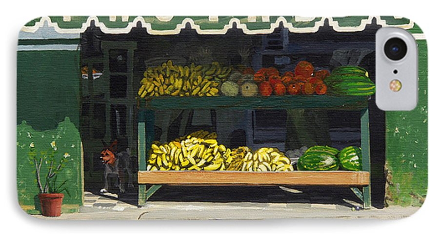 Market In Puerto Vallarta Mexico. Dog Added. IPhone 7 Case featuring the painting Frutas Y by Michael Ward