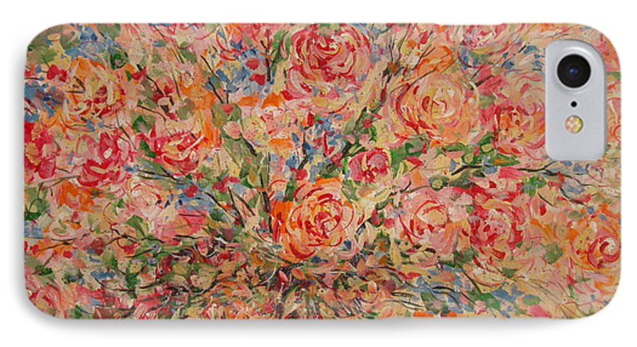 Flowers IPhone 7 Case featuring the painting Full Bouquet. by Leonard Holland