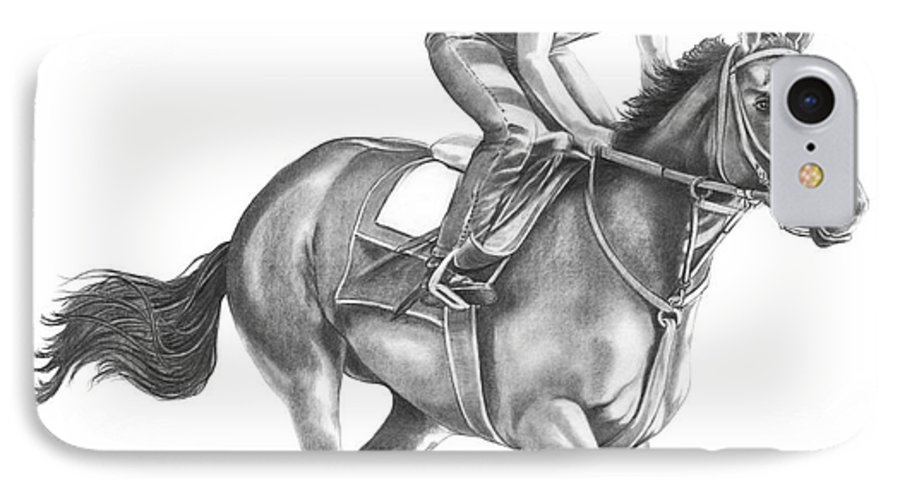 Horse IPhone 7 Case featuring the drawing Full Gallop by Murphy Elliott