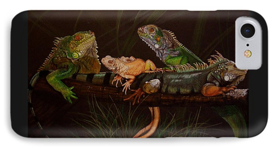 Iguana IPhone 7 Case featuring the drawing Full House by Barbara Keith