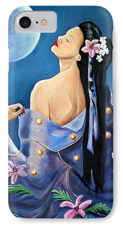 Beauty IPhone 7 Case featuring the painting Full Moon by Margaret Fortunato