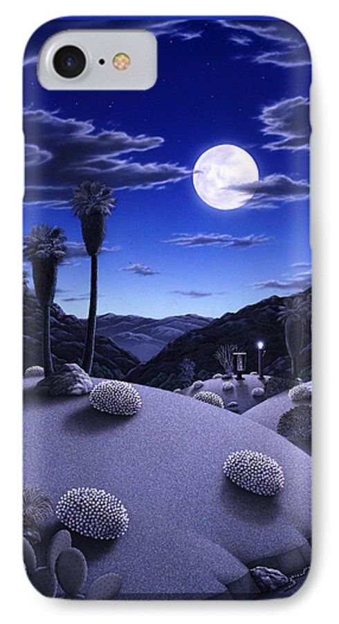 Desert IPhone 7 Case featuring the painting Full Moon Rising by Snake Jagger