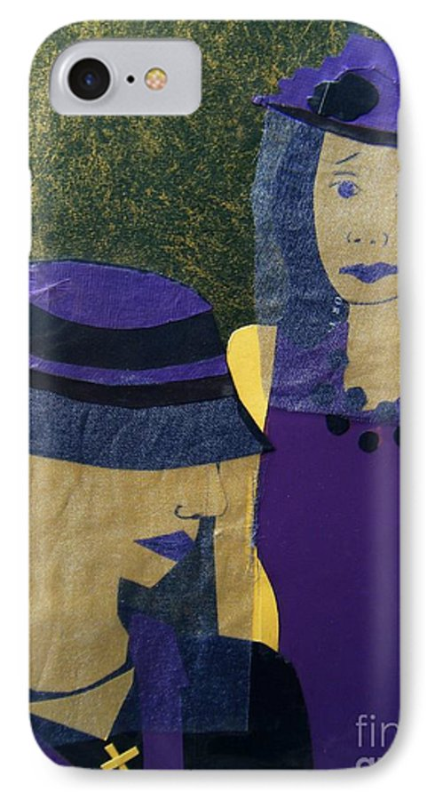 Purple IPhone 7 Case featuring the mixed media Funeral Masks by Debra Bretton Robinson
