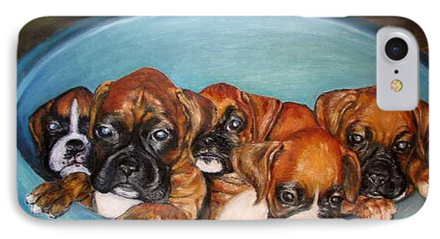 Oil IPhone 7 Case featuring the painting Funny Puppies Orginal Oil Painting by Natalja Picugina