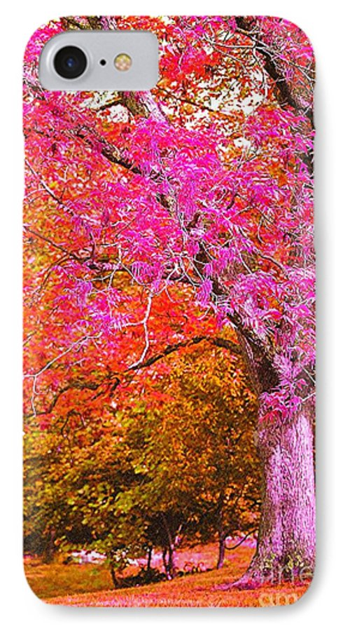 Fuschia IPhone 7 Case featuring the photograph Fuschia Tree by Nadine Rippelmeyer