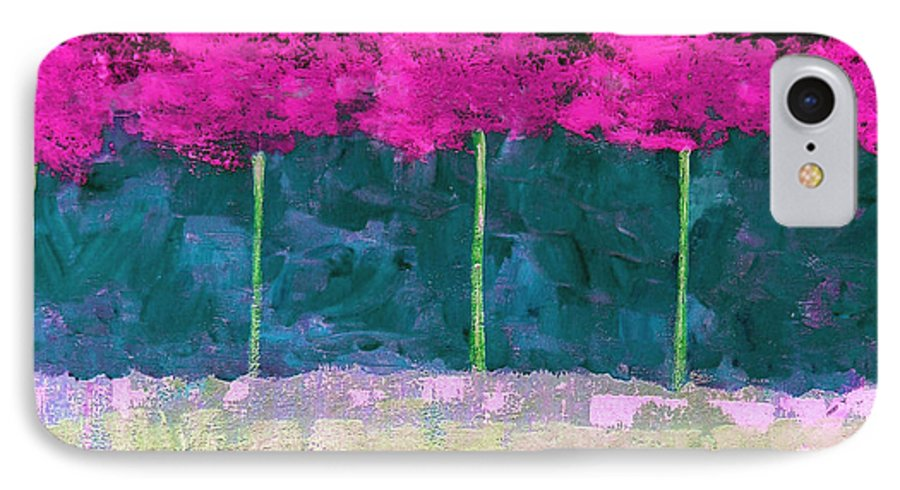 Abstract IPhone 7 Case featuring the painting Fuschia Trees by Ruth Palmer