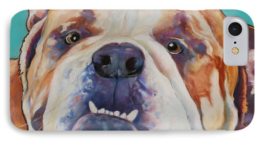 Pat Saunders-white Pet Portraits IPhone 7 Case featuring the painting Game Face  by Pat Saunders-White