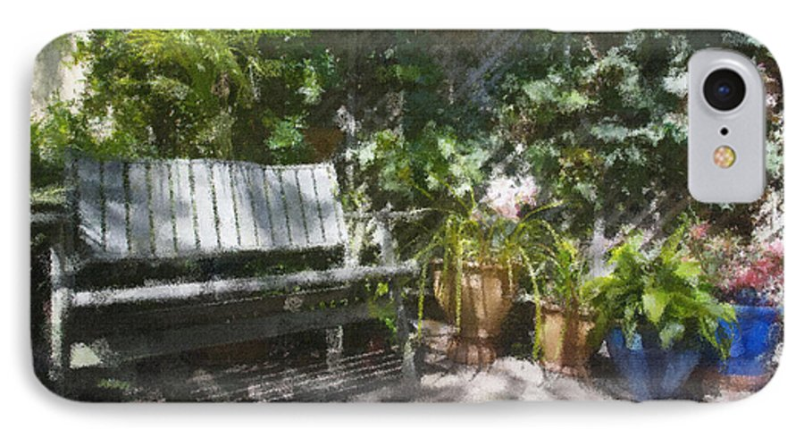 Garden Bench Flowers Impressionism IPhone 7 Case featuring the photograph Garden Bench by Sheila Smart Fine Art Photography
