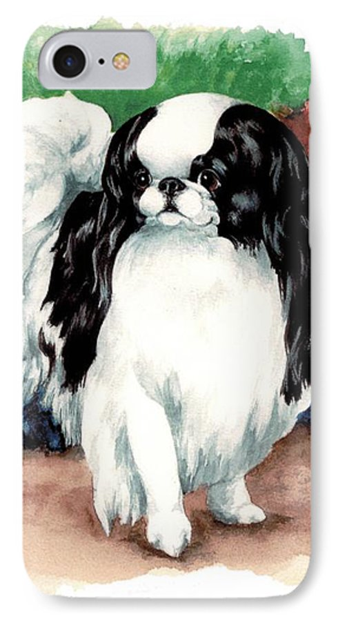 Japanese Chin IPhone 7 Case featuring the painting Garden Chin by Kathleen Sepulveda